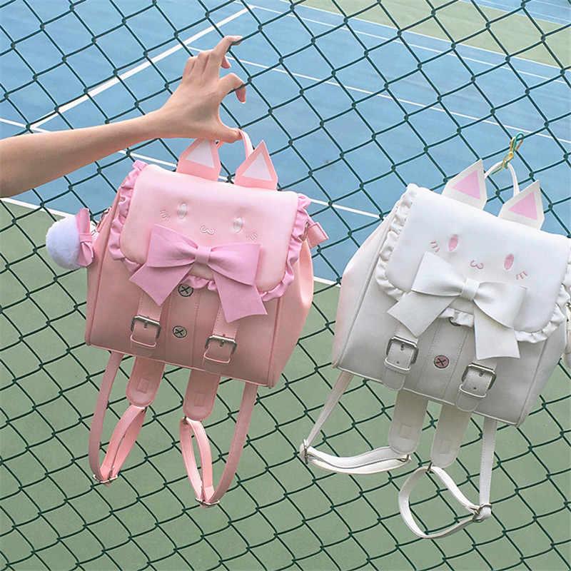 Япония Лолита девушка вышитый кот рюкзак леди Прекрасный лук сумка кавайный мультипликационный котик уши студенческие сумки Mochila Feminina