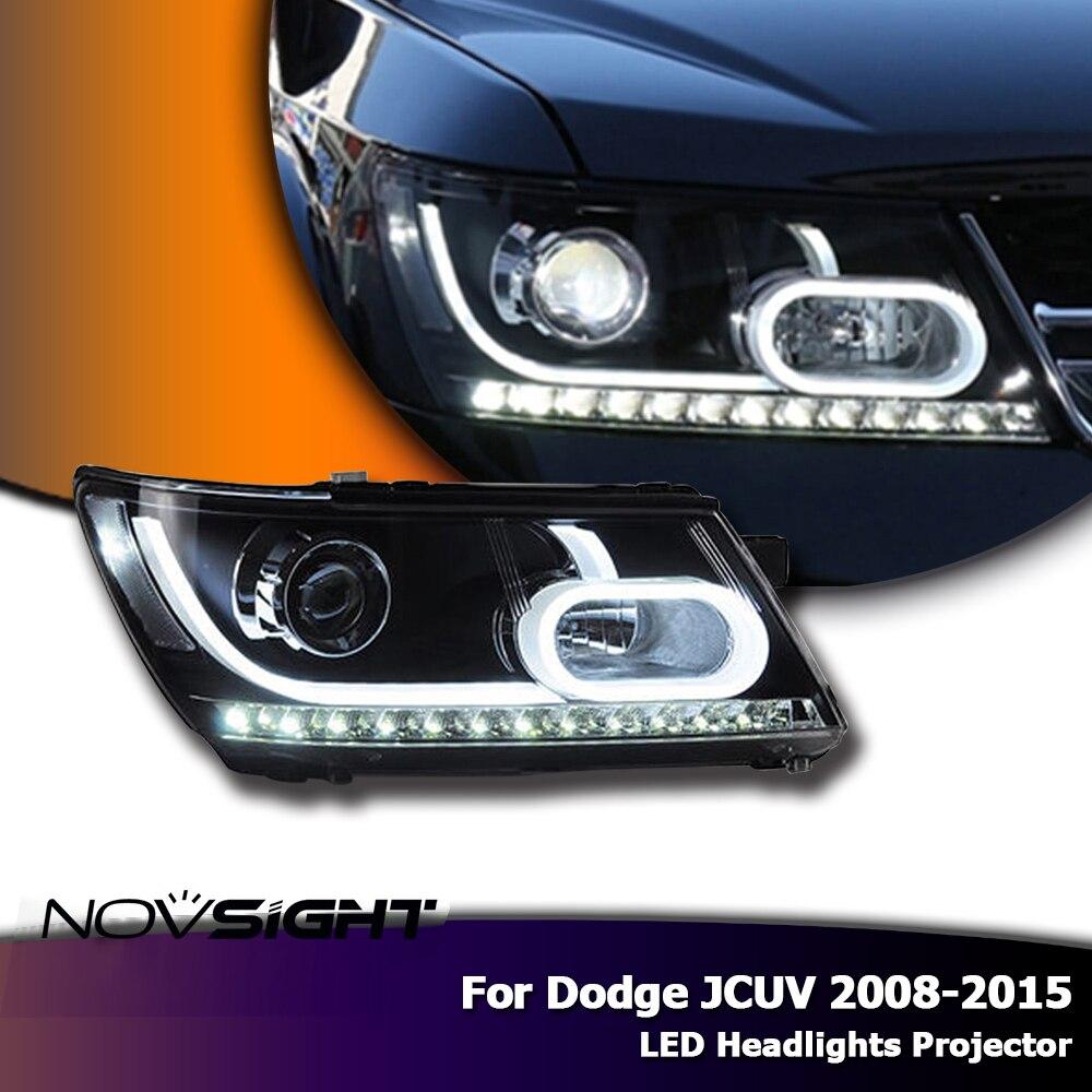 NOVSIGHT светодиодный фары проектор сборка свет сигнал поворота автомобиля свет в сборе для Dodge JCUV 2008 2015