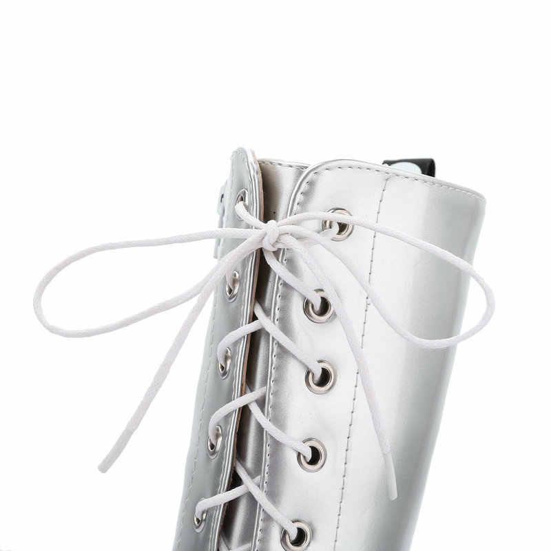 Diz Yüksek Çizmeler Platformu Savaş Botları Kadın Moda Dantel Kadar Kış Çizmeler Beyaz Kırmızı Siyah Gümüş 2019 Büyük Boyutu