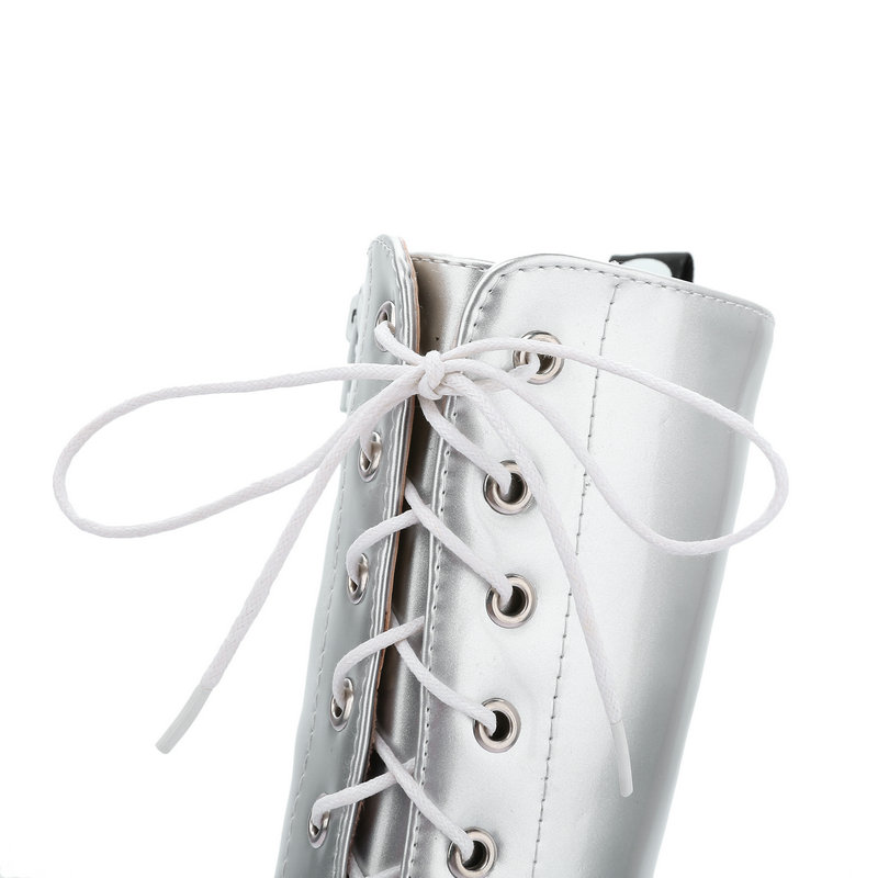 2a204291b Knee High Boots Platform Combat Boots Women Fashion Lace Up Autumn Winter  Boots Thick Heel White Red Black Silver 2019 Big Size-in Knee-High Boots  from ...
