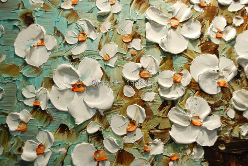 Populair Handgeschilderde olieverf paletmes witte bloemen schilderen modern  JZ18