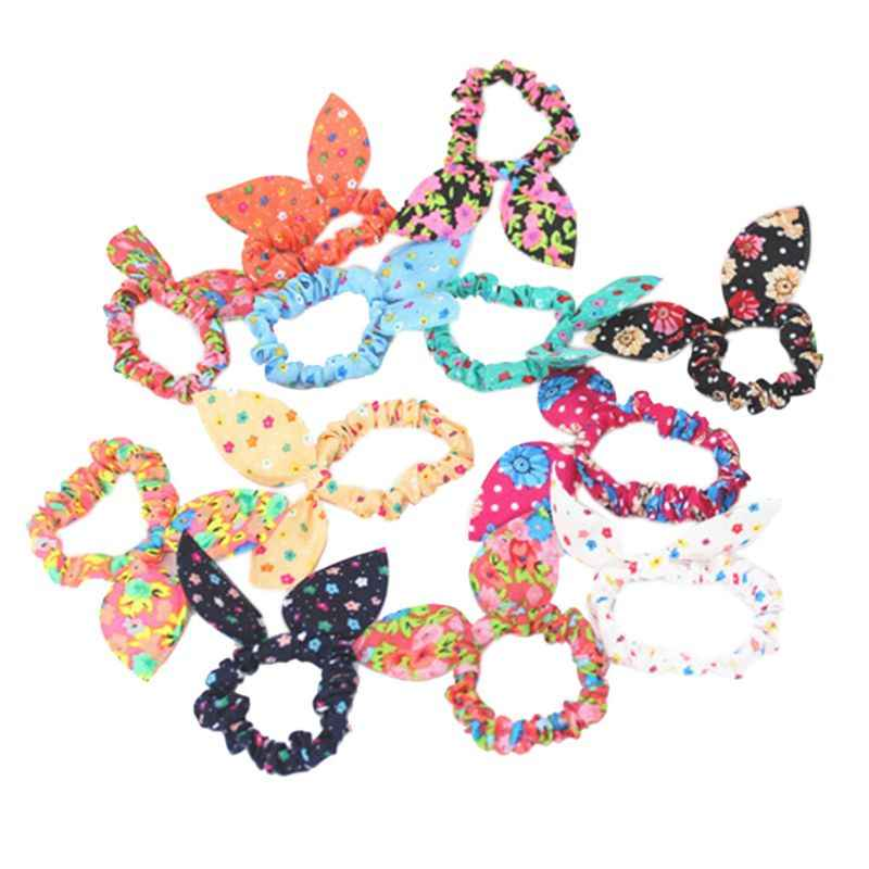 Women Girls Colorful Printing Rubber Band Cute Rabbit Ears Bowknot Polka Dot Leopard Floral Hair Rope Ponytail Holder Scrunchies