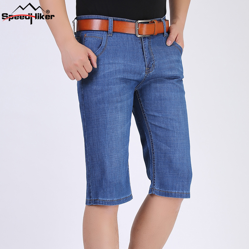 Speed Hiker new mens short jeans cotton summer style shorts thin breathable denim shorts male jeans light blue JW3163