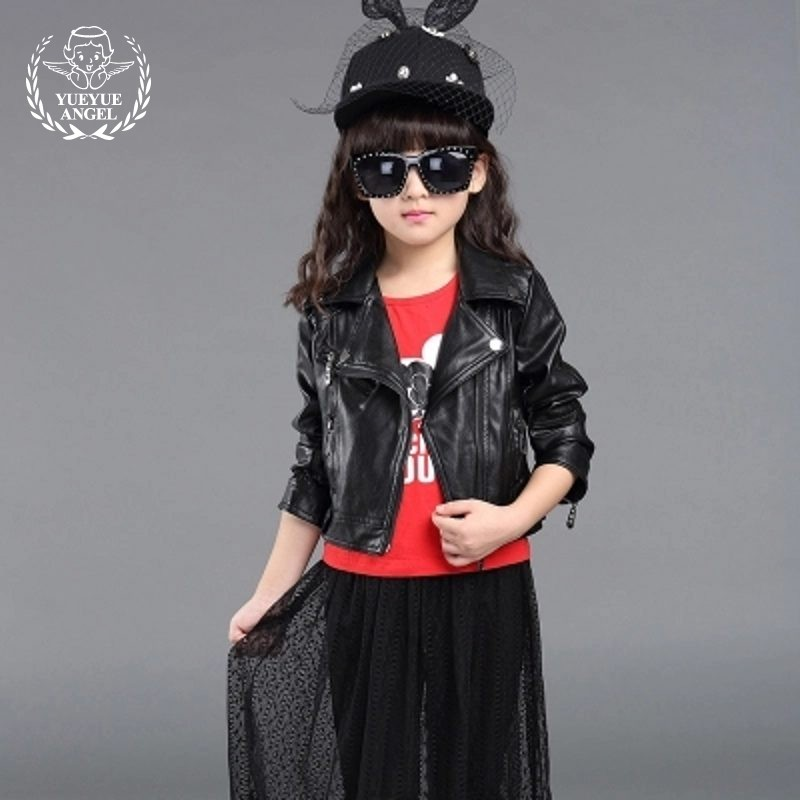 New Fashion Spring Genuine Leather Jacket Girl Punk Jackets Zip Autumn Pocket Biker Solid Korean Style Long Sleeve Children Coat