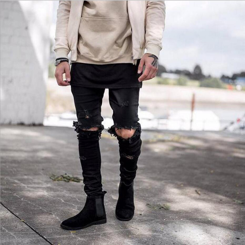 Knee Hole Jeans Destroyed Taped Slim Denim Pants Mens Ripped Jeans Hip Hop Streetwear Biker Jeans High Street Trousers 2016 loose cross pants boyfriend destroyed jeans baggy pants high quality ninth pants ripped hole saggy pants hip hop jeans
