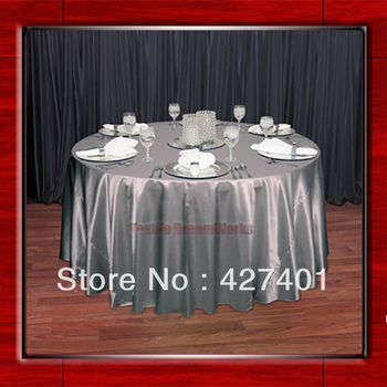 """Hot Sale Silver 54"""" round shaped poly satin table cloth/Tablecloths/Table overlay for wedding party decorating"""