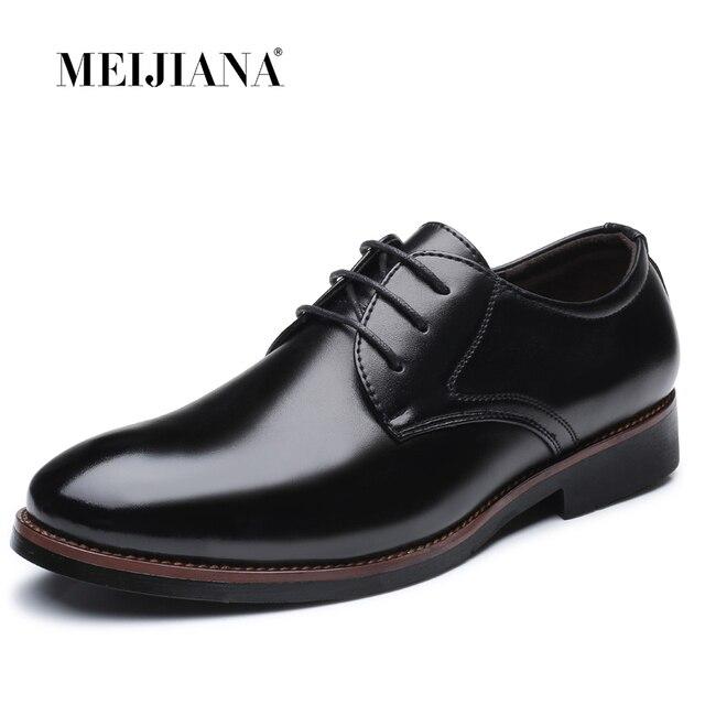 אביב סתיו למעלה אופנה גברים של תחרה עד נעלי עור איש עסקים בריטי הבוהן מחודדת נעלי גברים שמלה שחור עבודה נעל אחת