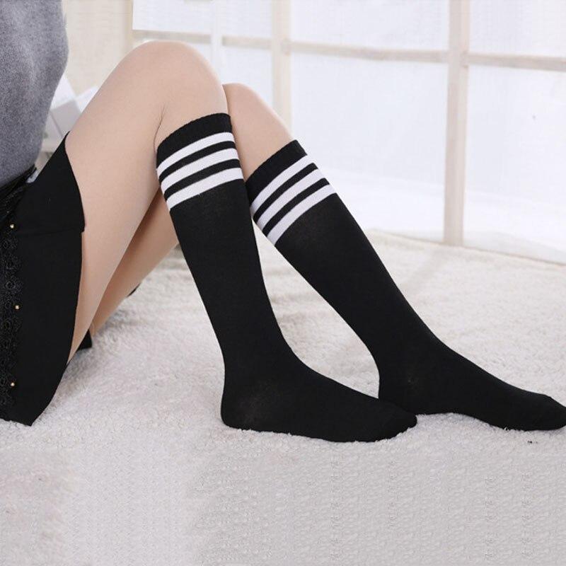 Anime Cosplay Stockings Black White Blue Red Stripe Stocking Japanese Cartoon Stockings For Women Girls Cotton Long Socks Warm mobile phone