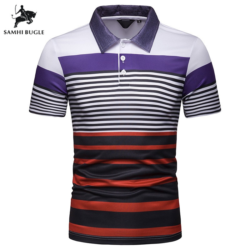 High Quality Striped Business   Polo   Shirt Men 2019 Summer Cotton Turn-down collar   polo   homme Plus Size 3XL camisa   polo   masculina