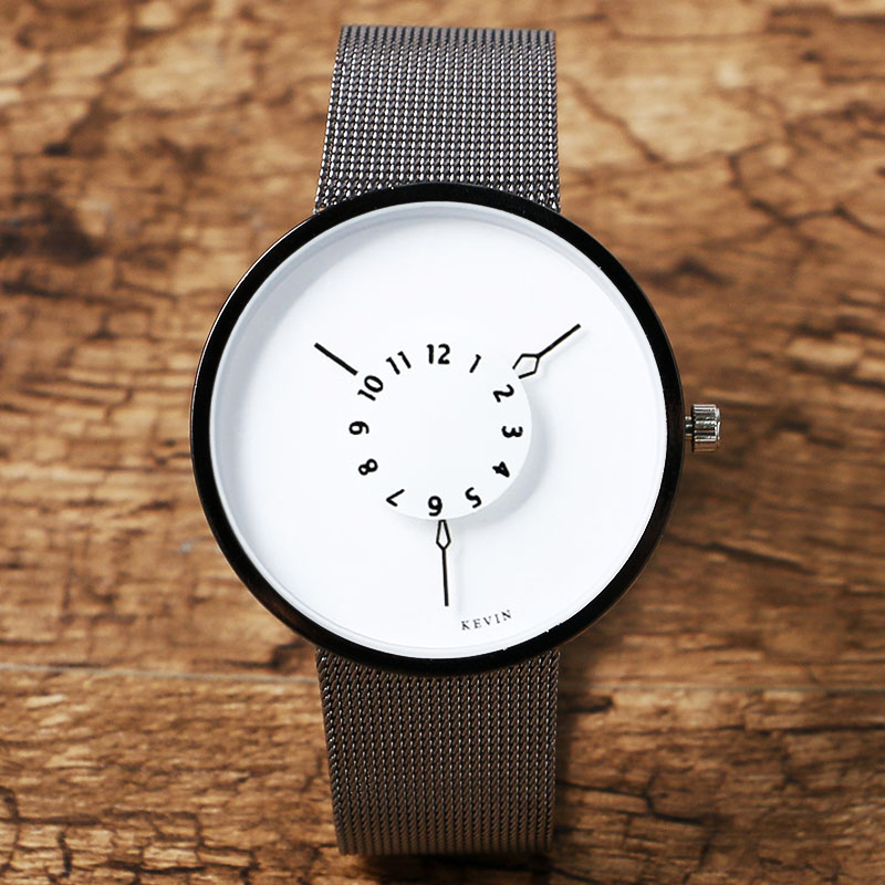 KEVIN Fashion Black/White Creative Dial Women Watches Casual Mesh Stainless Steel Strap Ladies Watch Turnable Clock Female Gift creative oil drum shaped stainless steel ashtray pen holder black white
