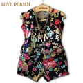 Girls Clothing Sets 2017 Summer New Retro Color Flowers Letters T-shirts+ Shorts Suit Fashion Kids Clothes