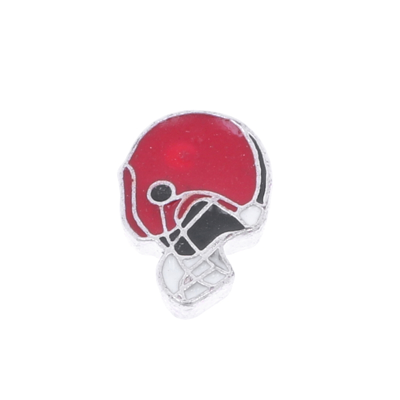 10pcs/lot Wholesale 2016 Floating Locket Charms Enamel Red Football Helmet Charms fit Living Memory Locket