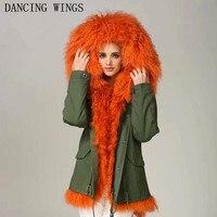 Короткие Стиль Для женщин реальная Монголии Овец парка с мехом теплый капюшон Съемная Меховая подстежка с натуральным мехом пальто зимняя