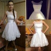 Nowe 2017 Białe Krótkie Suknie Ślubne Brides Sexy Lace Wedding sukienka Dla Nowożeńców Suknia Plus Size Ivory vestido de noiva Przykładowy Rzeczywistym