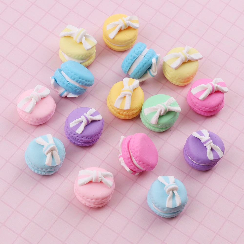 Mix Color 17mm 10pc Cute Handmade Macaron With Bow Clay Cotton Candy Polymer Clay Food Sweets Decoration Parts Fimo Crafts