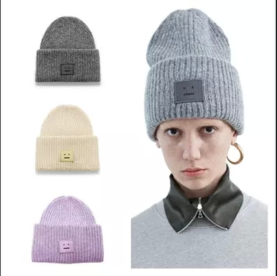 2015 Winter New Arrival Acne smiling face wool knitted cap Acrylic Beanies Skullies  4 colors For Men women b38a9fe4329