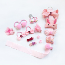 Mix 18pcs/box Ribbon Bow Rabbit Kids Hairpins ribbon satin Cute Cartoon Hair clip Girls Crown Barrette Princess Headwear gift