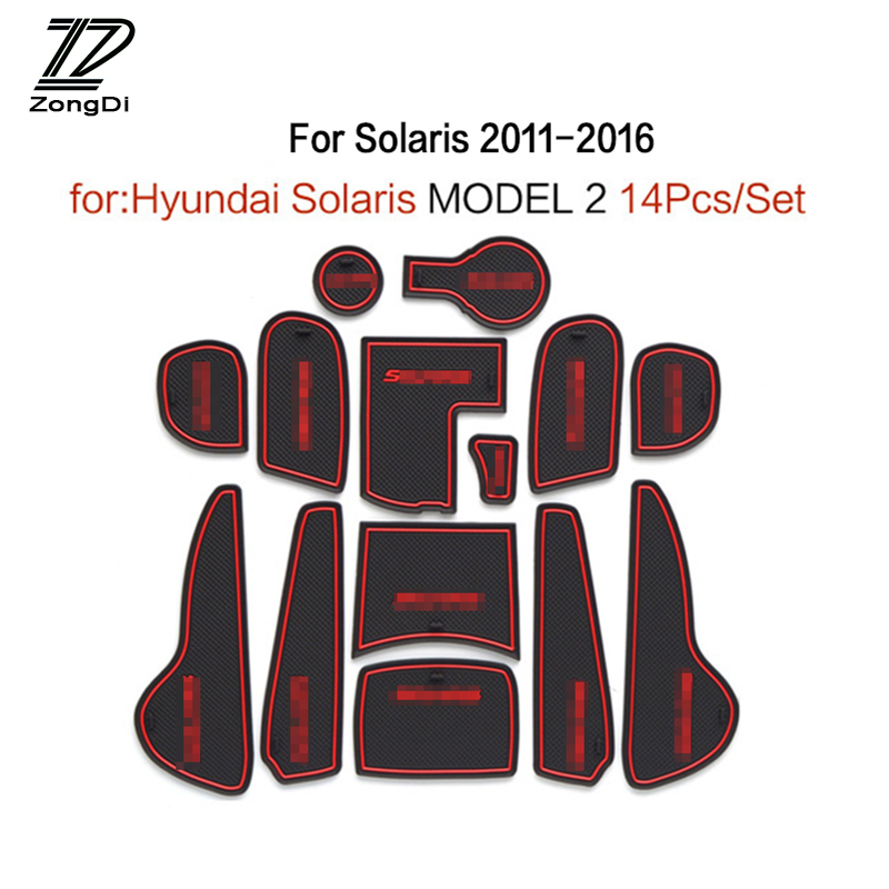 ZD 1Set For Hyundai Solaris 2 Accessories 2011 2012 2013 2014 2015 2016 2017 Car Interior Cup Mat Door Gate Slot Pad Stickers