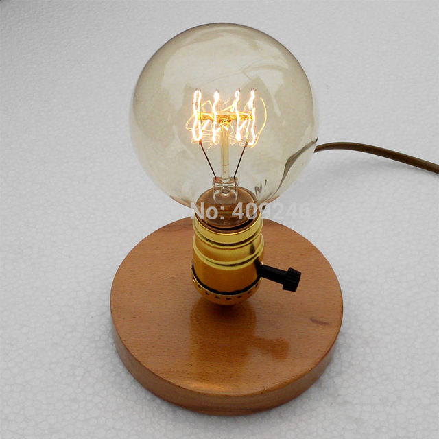 Injuicy Lighting Vintage Industrial Table Light Edison Bulb Wooden ...