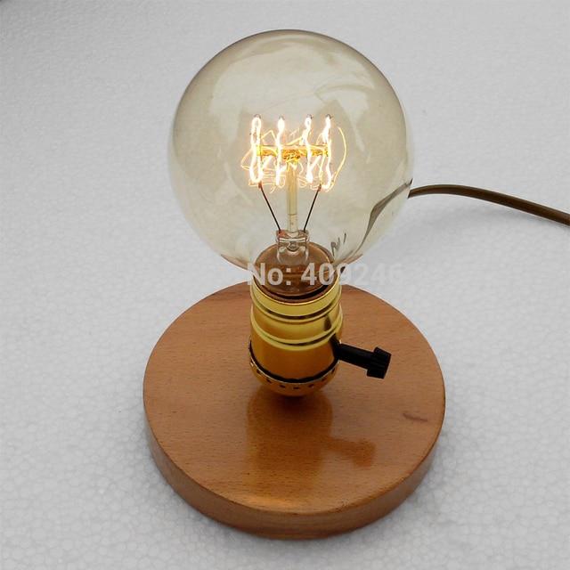 Injuicy Lighting Vintage Industrial Table Light Edison Bulb Wooden Desk Lamp  E27 (Wood/Black