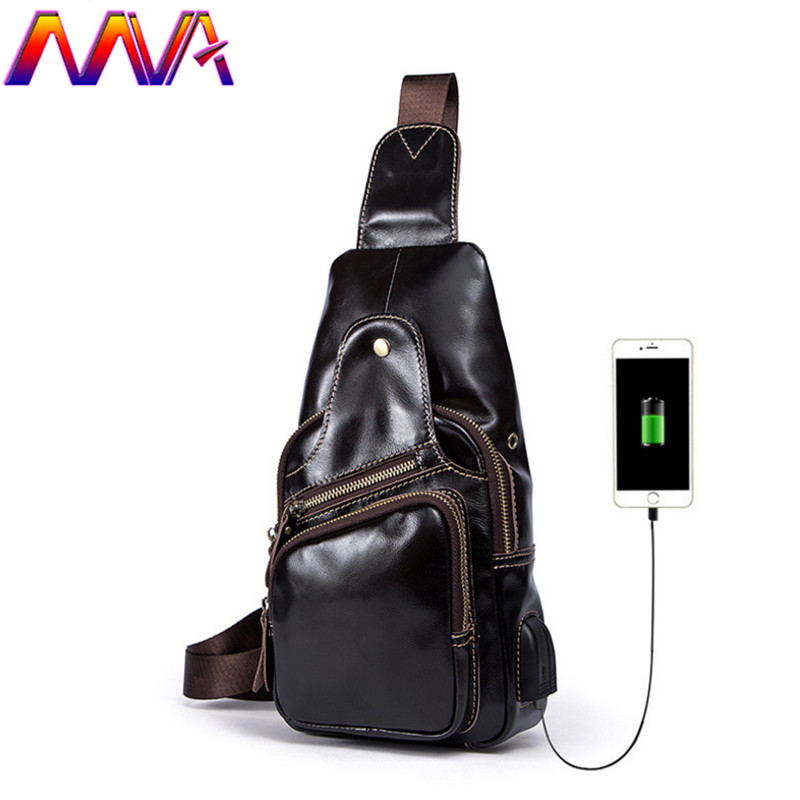 MVA Promotion fashion genuine leather men chest bag with convenient USB chest bags and headset shoulder bags men waist pack