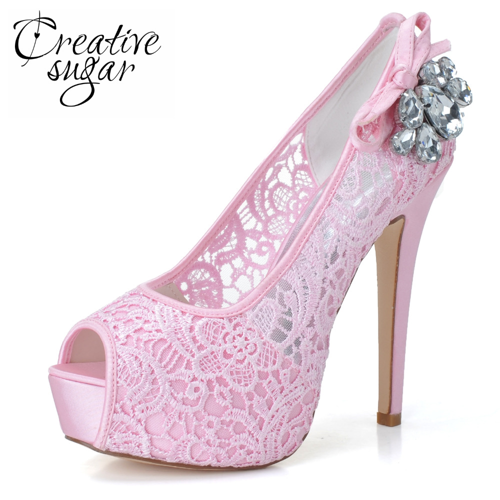 Creativesugar Woman platform high heel shoes pink white see through perspective lace bridal wedding prom pumps crystals open toe woman shoes 014 ip white ivory lace shoes high heel pumps women wedding shoes for bride comfortable bridal heels with platform