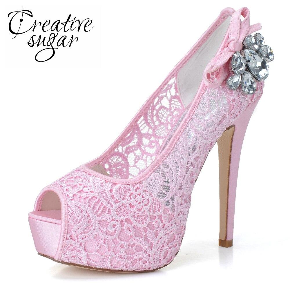 Creativesugar Woman platform high heel shoes pink white see through perspective lace bridal wedding prom pumps crystals open toe creativesugar woman elegant sweet lace