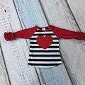 Día de san valentín de los bebés rayó corazón rojo tres quater cotton boutique lindo topt-shirt caída reglans ropa ruffles imprimir