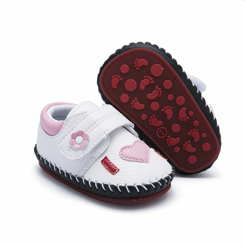 Cartoon Animal Hand-stitched Toddler Baby Shoes Leather Newborn Shoes Non-slip Rubber Soled First Walkers