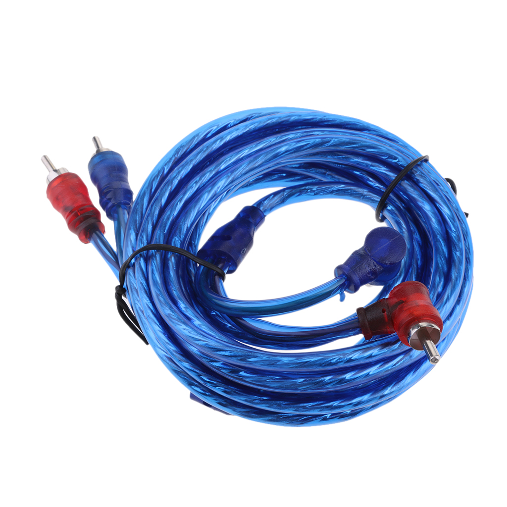 Car Home Stereo Video Cable 2-Male to 2-Male Audio Cable Connector Blue 4.5m