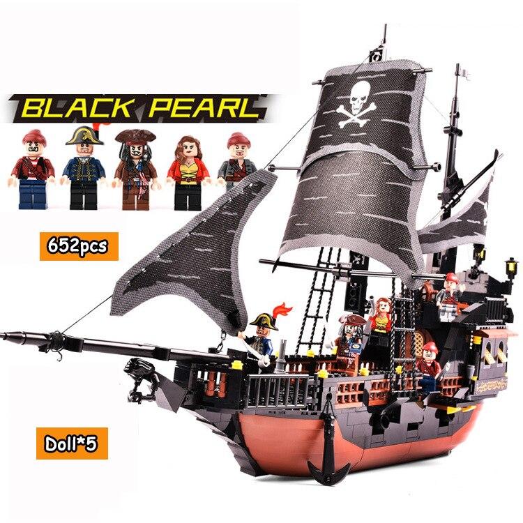 Caraïbes noir perle Pirate bateau blocs de construction assemblés poupées bricolage modèle jouets brique enfants jouer jeu cadeaux d'anniversaire