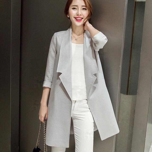 Moda Primavera Outono Elegante Trench Coat Para Mulheres De Longo Outwear Casuais Marca Blusão Feminino Cinza Branco