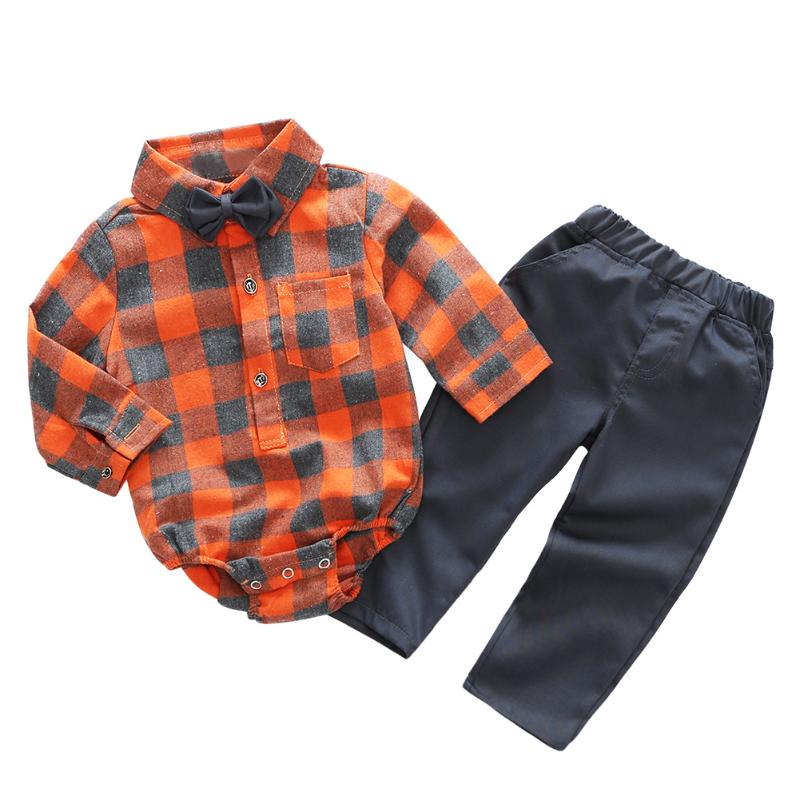 New Baby Clothes Set Boy Clothing Casual Newborn Fashion Plaid Rompers Pants Bow Tie 3pcs/set Infant Costume