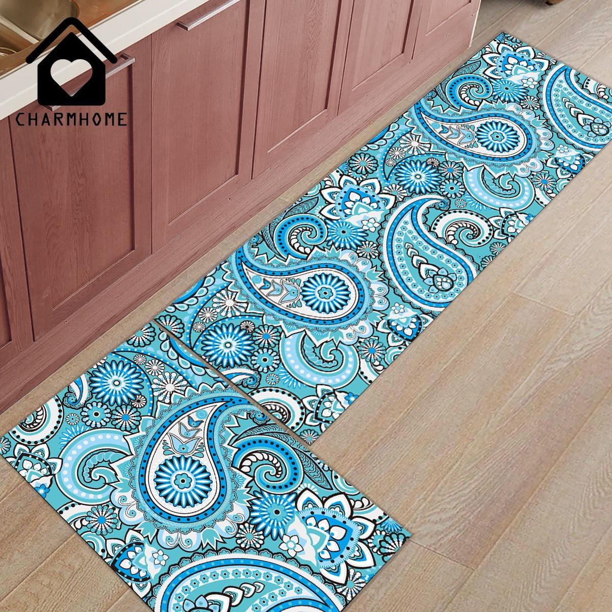 Charmhome 2pcs Set Blue Pellis Vortex Long Kitchen Mat Bath Carpet Floor Mats Home Entrance Doormat Bedroom Living Room Rug Mat Aliexpress