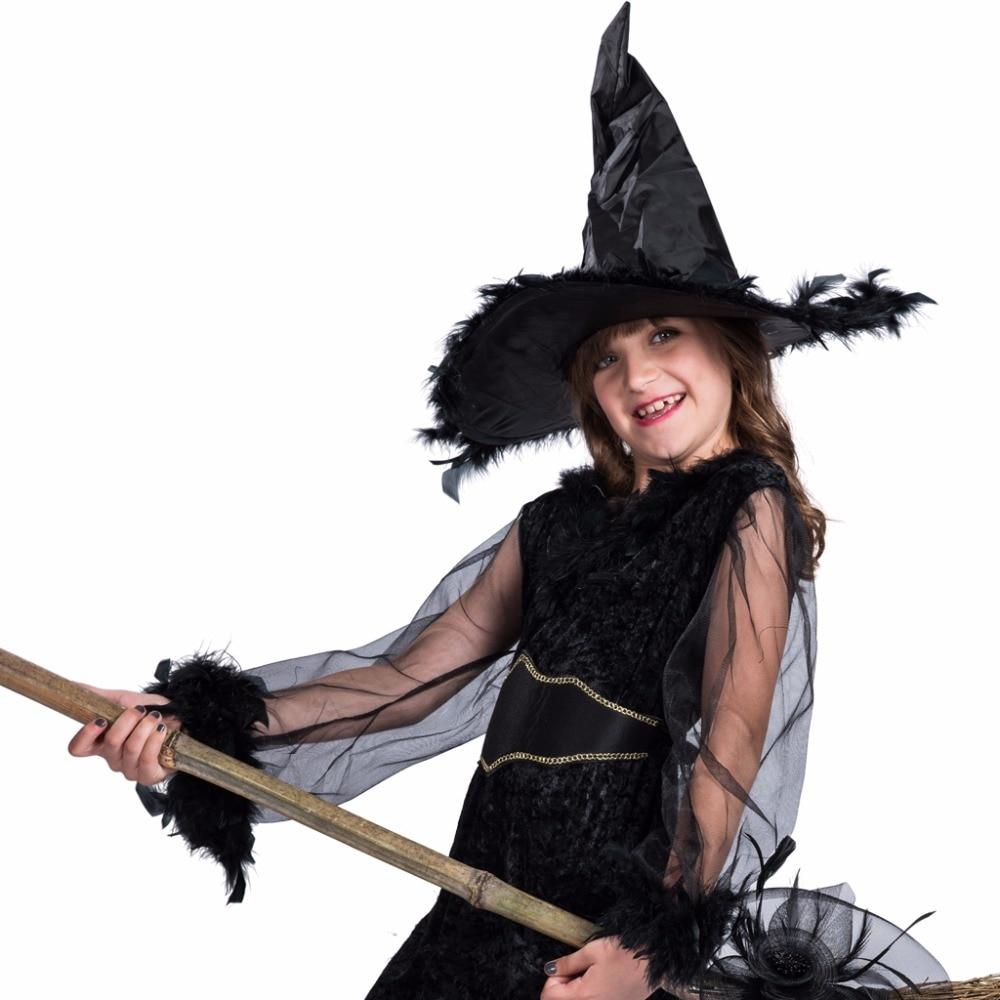 Kids Funny Kostymer Klänning och Hat Set Feather Witch Black - Maskeradkläder och utklädnad - Foto 6