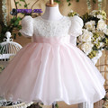 Real Image Pink Cap Sleeve Big Bow Back  Flower Girl Dresses Princess Dress robe fille enfant de bal obe de communion