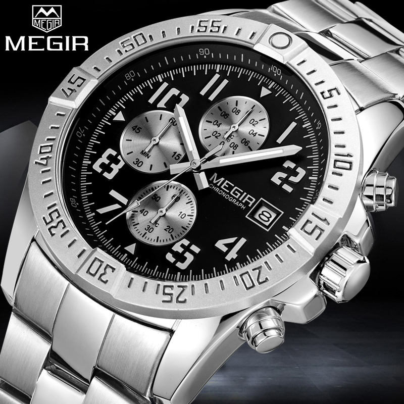 2018 MEGIR Mens Watch Top Brand Luxury Man Fashion Business Waterproof Quartz Watches Men Military Sport Clock Relogio Masculino