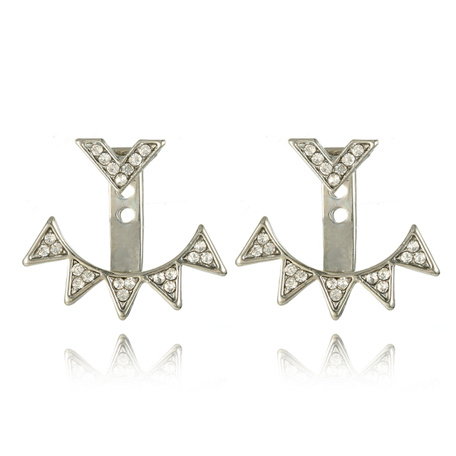 Crystal Jacket Flower Stud Earrings For Women
