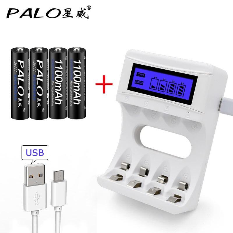 LCD cargador de batería USB carga rápida elegante para NiCd NiMh AA AAA baterías recargables + 4 piezas 1,2 V 1100 mah batería AAA