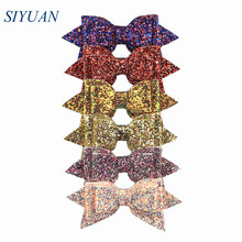 10pcs/lot 5 Flexible Boutique Sequin Leather Bow with Clip Hair Clips Best Gift Headwear Accessories HDJ135