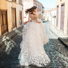 27227dca0d Sexy Deep V-neck Champagne Wedding Dresses with Butterfly Backless Puffy  Princess Bridal Gown 2019 New Robe de Mariage