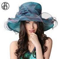 FS дамы элегантный большими полями Цветы из органзы Шапки синяя церковь Кентукки Дерби шляпа для Для женщин сезон: весна–лето hat