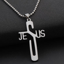 Fashion Punk Stainless Steel Jesus Cross/David Star/Dog Tag Pendant Necklace Beads Chain for Men and Women(China)