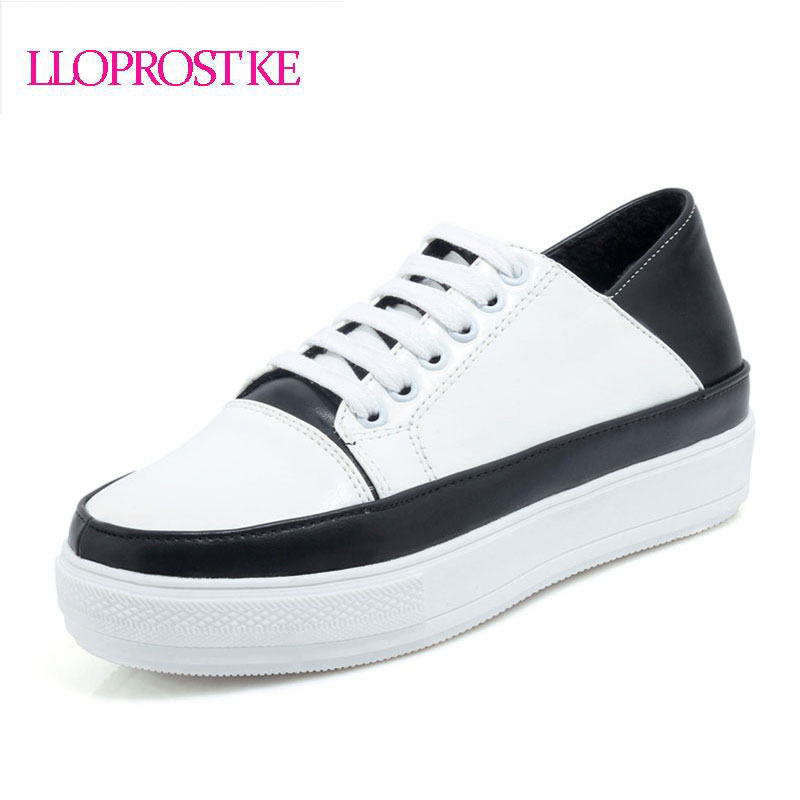 цены  LLOPROST KE Shoes Women Fashion Flats Comfort Causal Shoes lace up round toe Ladies Basic Flat Footwear Black Size 30-44 GL048
