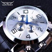 Jaragar 6 ידיים כחולות אופנה תצוגת עיצוב כסף קייס יוקרה גברים שעונים למעלה מותג שעון יד אוטומטי רצועת עור אמיתי