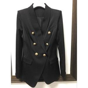 Image 3 - Yüksek kalite yeni moda 2020 tasarımcı Blazer kadın uzun kollu kruvaze Metal düğmeler uzun Blazer dış ceket