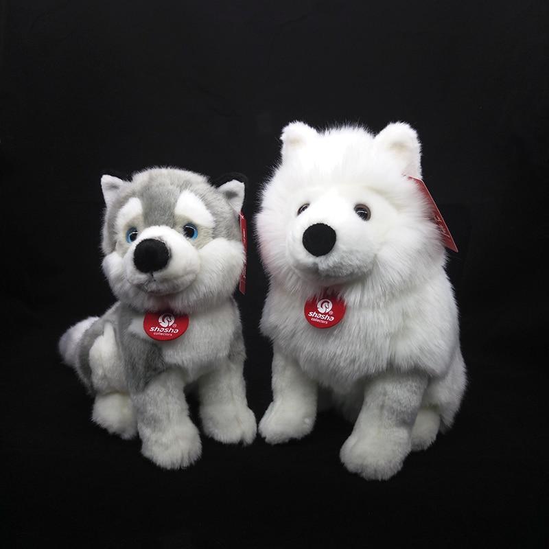 simulação cão branco brinquedo de pelúcia filhote