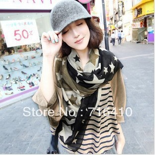 2012 Fashion Women Scaves Chiffon Lovely Stars Long Big Scarf Charm Shawls and Wraps 10 pcs
