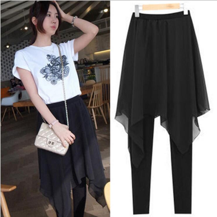2017 Autumn New Korean Women's Skirt Pants Skinny   Legging   with Chiffon Skirt Mini   Leggings   False Two Pieces Plus Size M~4XL LG12