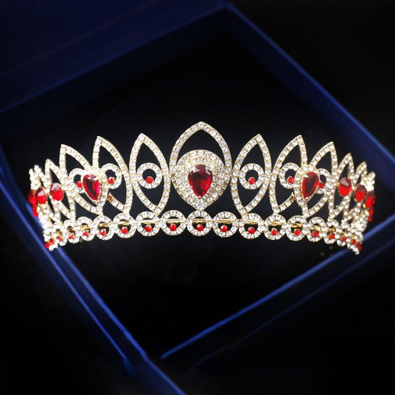 Baroque Vintage Gold Red Blue Crystal Women Prom Tiara Bridal Hair Crown Rhinestone Diadem Wedding Hair Piece Accessories Crowns